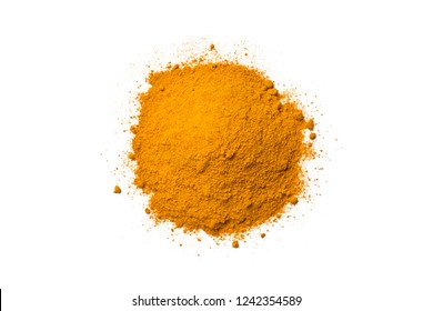 Top view (flat lay) of finely dry Turmeric (Curcuma longa Linn) powder isolated on white background.