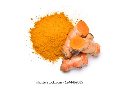 Top view (flat lay) of finely dry Turmeric (Curcuma longa Linn) with rhizome (root) sliced isolated on white background.