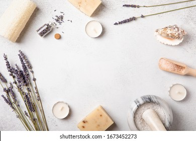 Top view and flat lay of handmade cosmetics. Woman body and self-care. Bath salt. Wellness concept. Natural organic beauty product