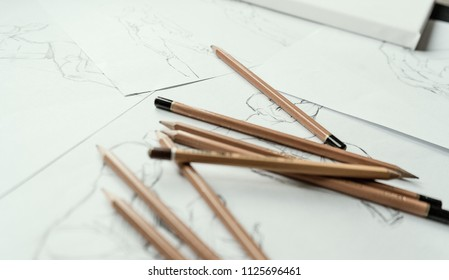 A top view flat lay of many figure drawing pencil and marker sketches. The artist worskspace with male and female drawings and pencils on the white paper, art, craft, creativity, inspiration, concepts