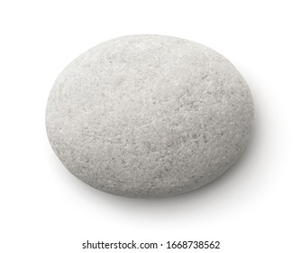 Top view of flat white pebble isolated on white