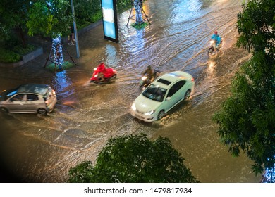 Top view of flooded traffic in a heavy rain in Hanoi, Vietnam
