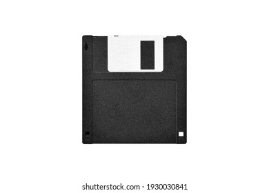Top view of floppy disk on white background