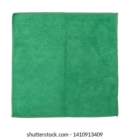 Top view of a folded green microfiber cleaning cloth isolated on a white background.