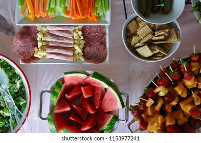 Top view of foods in the table