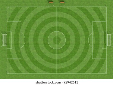 Top view of a football field with the grass cut circularly - rendering