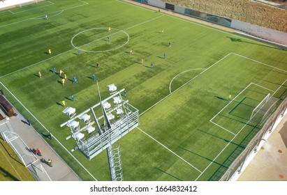 top view of a football match