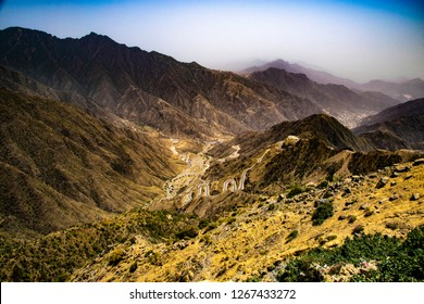 Top view form the mountain to Rijal Alma near to Abha city in Saudi Arabia
