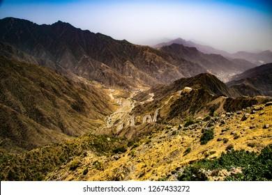 Top view form the mountain to Rijal Alma near to Abha city in Saudi Arabia