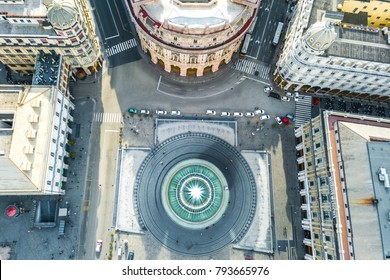 Top view of the Fountain in the Plaza de Ferrari in Genoa, Italy