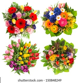 top view of four colorful flower bouquets for Birthday, Wedding, Mothers Day, Easter. multicolor arrangements