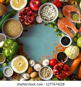 Top view frame of set healthy food for cooking healthy and diet food (cereals, seeds, fish, vegetables and fruits) Healthy food concept
