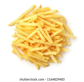 Top view of french fries isolated on white