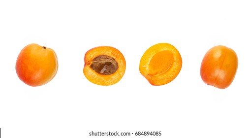 Top view of fresh apricot isolated on white background.