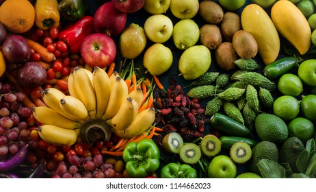 Top view fresh fruits and vegetables organic, Group of ripe fruits for eating healthy and dieting