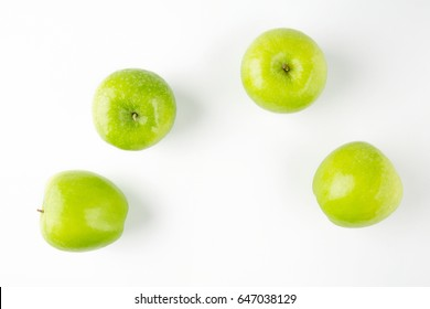 Top view of fresh green apple isolated on white background.