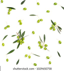 Top view of fresh green olive fruit with leaves isolated on white background.