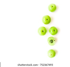 Top view fresh indian gooseberry fruit on white background with high vitamin C, Herb and medical for health concept