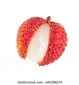 Top view of fresh litchi isolated on white background.