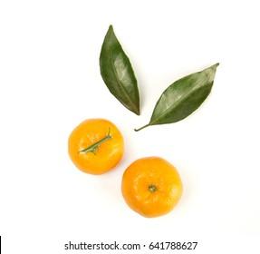 Top view of fresh mandarin orange isolated on white background.