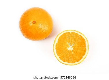 Top view of fresh navel orange isolated on white background.