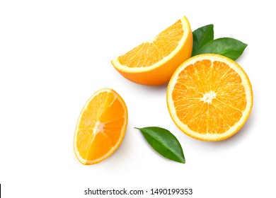 Top view of Fresh orange fruit with sliced and green leaves  isolated on white background.