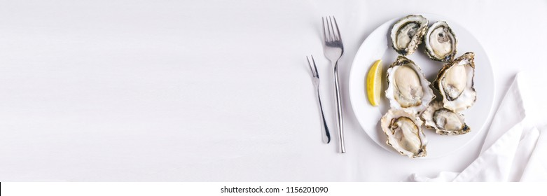 Top view of Fresh oysters served in white plate with sliced of lemon on white tablecloth. With copy space.