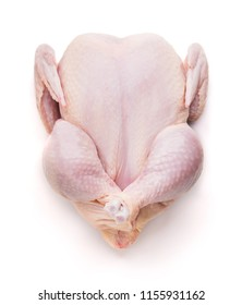 Top view of fresh raw chicken isolated on white background
