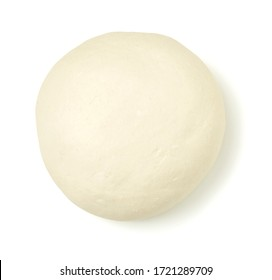 Top view of fresh raw dough isolated on white. Close up