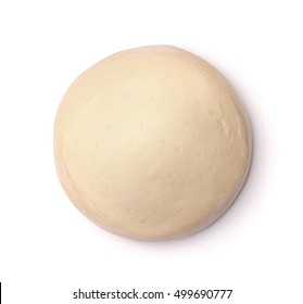 Top view of fresh raw dough isolated on white