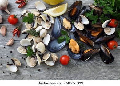 top view fresh seafood mussels and clams
