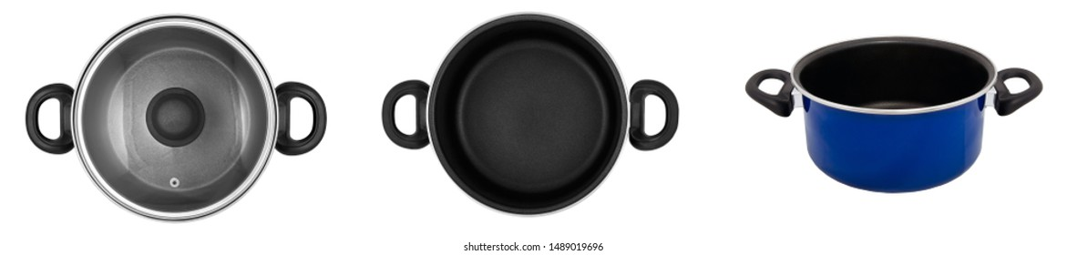 Top view and front view set of images of cooking pot (pan) with and without lid isolated on white background