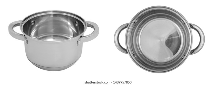 Top view and front view set of images of cooking pot (pan) isolated on white background