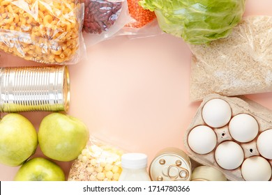 Top view full of food from the supermarket. Colorful composition of food.