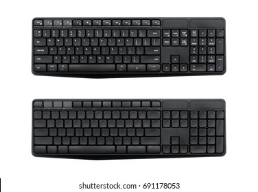 Top view of Full size wireless desktop computer keyboard isolated on white background with clipping path inside. (Eng and empty alphabet)