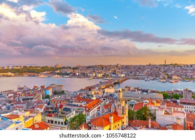 Top view from Galata Tower in Istanbul at sunset time