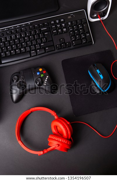 Top View Gaming Gear Mouse Keyboard Stock Photo (Edit Now) 1354196507