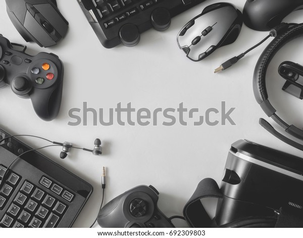 Top View Gaming Gear Gaming Space Stock Photo (Edit Now) 692309803