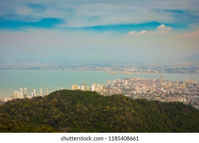 Top view of Georgetown, capital of Penang Island, Malaysia from top of Penang hill