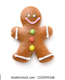 Top view of gingerbread man isolated on white