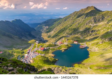 Top view of glacial Lake Balea with Transfagarasan road in most famous place of Romania
