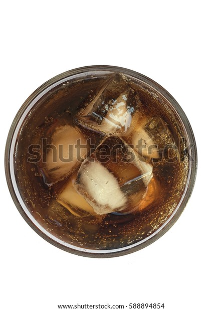 Top view a glass of Black Soda , overflowing glass of soda closeup with bubbles isolated on white  background