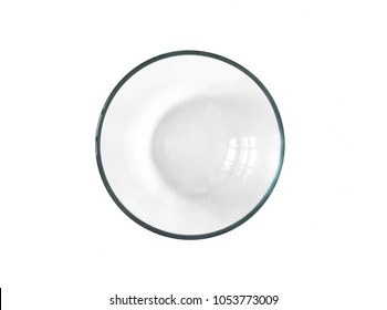 Top view Glass bowl, clipping path, isolated on white background