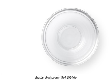 Top view glass bowl on white background