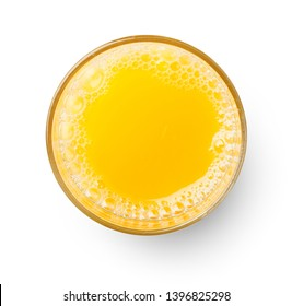 top view of glass of orange juice isolated on white background