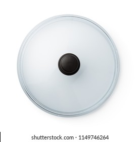 Top view of glass pan lid isolated on white