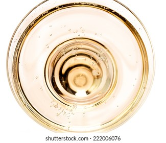 top view of a glass of sparkling wine