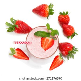 Top view of glass of  strawberry smoothie with mint isolated on white background.
