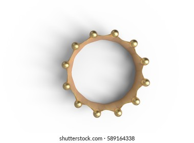 top view gold crown isolated on a white 3d illustration