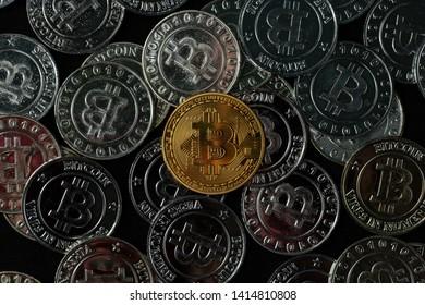 Top view golden bitcoin coin.